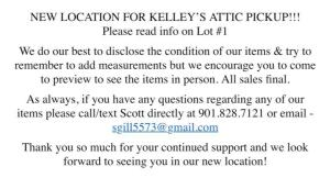 Kelley's Attic Premier Auction at New Location!