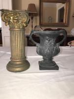 Small urn and Corinthian candle holder.