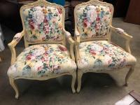 Two NICE Wood/Floral fabric Arm Chairs - in pretty good overall condition!!
