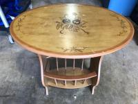 "Small Oval Table with magazine holder - excellent project piece - 22"" x 16"", 22"" tall"