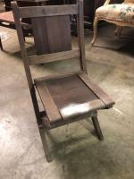Small Vintage Wood Folding Chair - Kid size - May go to the rolling desk but not sure (lot# 48)