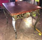 "Side table with heavy iron base - another great project piece 23"" x 27.5"", 22"" tall"