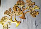 "Pair of Vintage Brass Tree Wall Art - 16.5"" wide, 20"" tall"