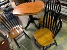 Black & Stained Wood Dropleaf Table with 3 Chairs