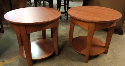 Two matching around side tables
