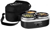 Crock-Pot 16-Ounce Little Triple Dipper Slow Cooker, Silver and Black Brand New!
