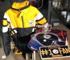 Steelers Lot - Puffy Coat (sz M), license plate, beer mug and flag