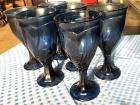 "6 very nice heavy blue drinking glasses - 7"" tall"