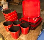 "Home trends ""Rave Red"" dish set for 4"