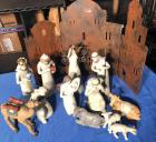 Very Pretty Nativity Scene with metal background