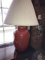 "Floor lamp, brass finish 56"" tall. Table lamp rust color 28"" tall. Shade is 13"" tall x 18"" bottom diameter."