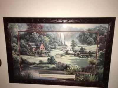 Beautiful custom mat print of cottage and waterfall.