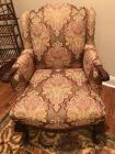 Queen Anne style carved legs upholstered chair