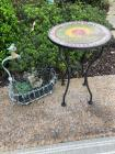 Outdoor round small table and plant holder