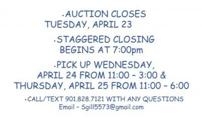 Pick up Wednesday, April 24 from 11:00-3:00 and Thursday, April 25 from 11:00-6:00