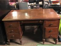 Pretty Wood Desk - would be so pretty with the top redone!!!