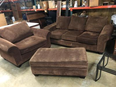Nice Brown Cloth Couch, Loveseat and ottoman