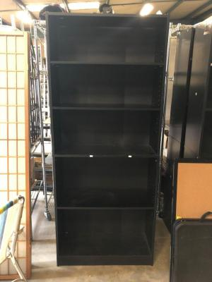 "Black Pressed Wood Bookshelf- 29.5"" x 12"", 71.5"" tall"