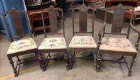 "4 Antique Wood Chairs with needlepoint seats - 39.5"" tall, seat is 18"" from floor"