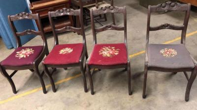 4 Antique Wood Chairs - very good condition considering their age!!
