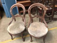 2 Cute Round Wood Antique Chairs - seats could use some attention or recovering