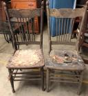 2 Antique Wood/Leather Chairs - excellent project piece