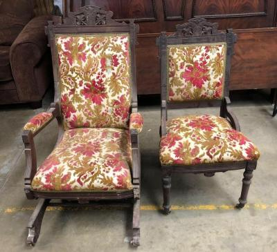 Interesting Set of Matching Antique Wood Chairs - one is a rocker and the other a side chair