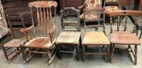 Lot of 5 Misc. Antique Chairs - includes 2 rockers
