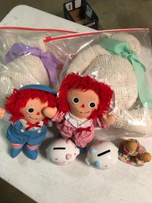 Twins Lot :) boy/girl raggedy Ann dolls, handmade bears, etc...
