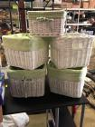 White Square Pottery Barn style baskets with washable green and white gingham washable inserts