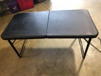 Small Center Fold Portable Black Table - adjustable heights