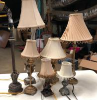 Lot of 7 lamps in very nice condition! All have shades except the elephant lamp