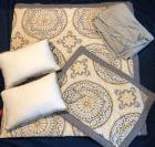 Gray and Yellow Quilted Bedding - full size comforter, 1 sham and 2 throw pillows