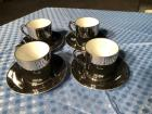 Vintage 8-pc Espresso Set by FF in Japan Silver Plated Ceramic Cups & Saucers