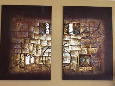 Pair of decorative wall hangings, oil on canvas