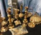 Brass Lot - candlesticks, light fixture, some misc...