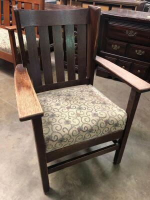 Vintage wood chair with cushion
