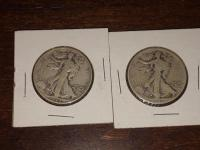 Two 1942 Walking Half Dollars