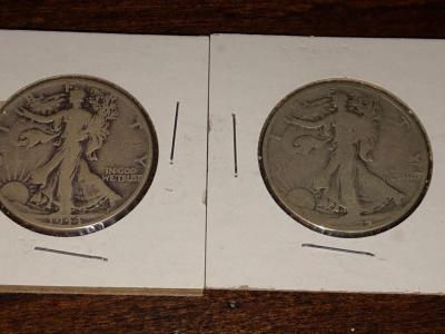 Two 1944 Walking Liberty Half Dollars