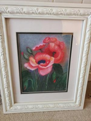 A beautiful framed matted painting from well-known artist bill geiger