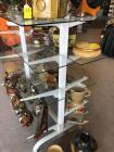 Wooden and glass shelf shelves are 12 and 10 inches deep 48 inches wide