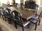 Wonderful Pedestal base, dining room table with two leaves, eight side chairs and two captain chairs