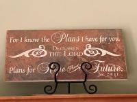 Decorative plaque with Jeremiah 29 verse 11 on it