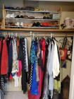 Contents of closet. Gorgeous ladies formal wear and shoes.