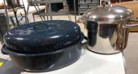 Blue metal speckled roasting pot & Wolfgang Puck stainless steel pot