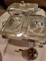 Lot of 2 vintage covered chafing dishes