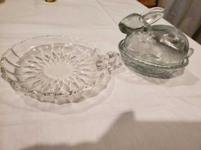 Small VSL dish with handle and small bunny dish.