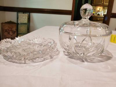 Two beautiful crystal bowls. One is a covered bowl.