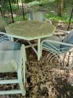 Outdoor plastic table and 4 chairs with cushions