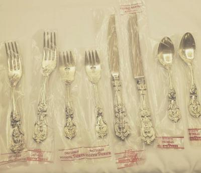 Reed & Barton Sterling Francis I flatware. New and unused. Four piece place setting for 2.